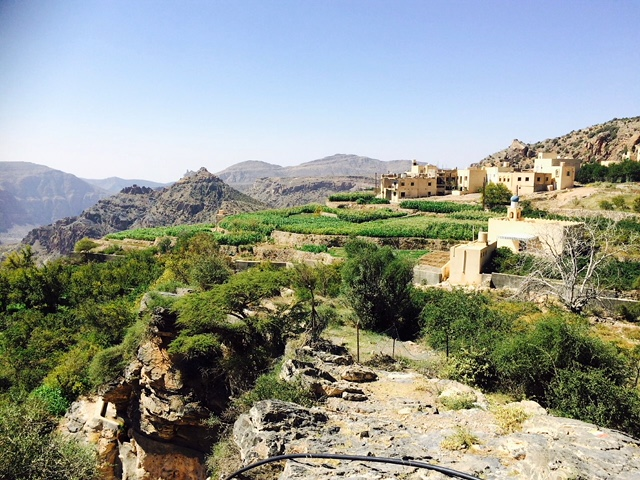 village with terraces on seiq platou jabal akhdar
