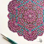 Islamic geometric watercolour art
