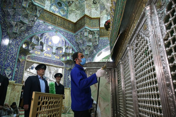 disinfecting mosques in Qom, Iran